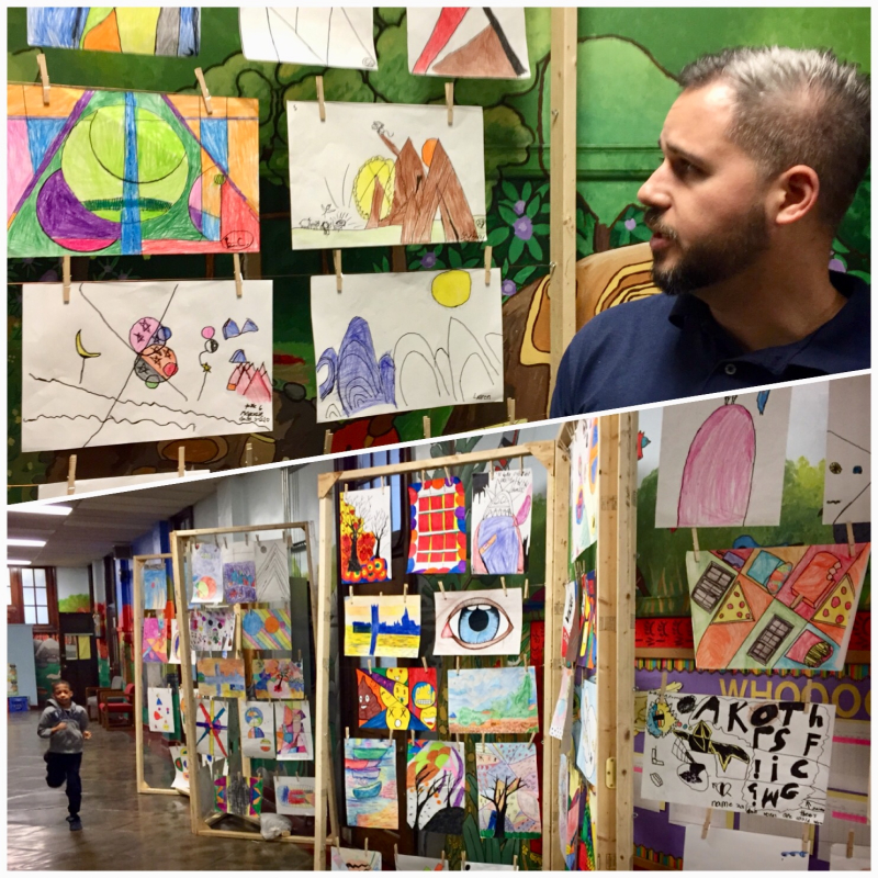Art teacher clothesline exhibit