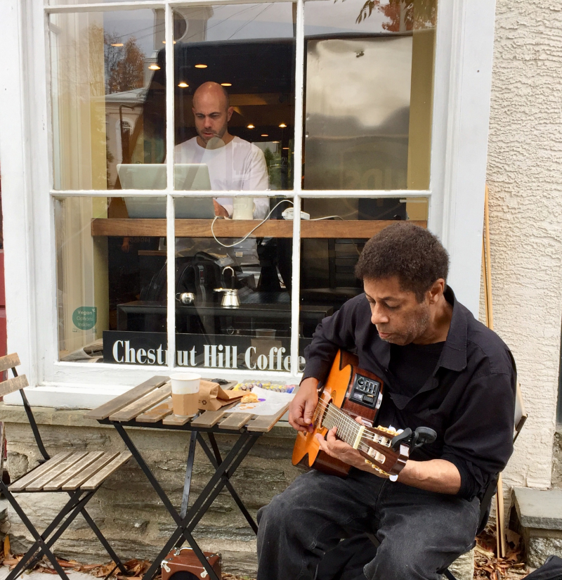 Street musician chestnut hill coffee