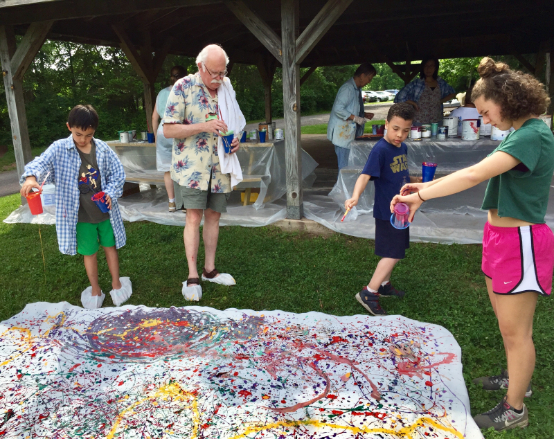 Paint like Jackson Pollock abstract expressionist artist
