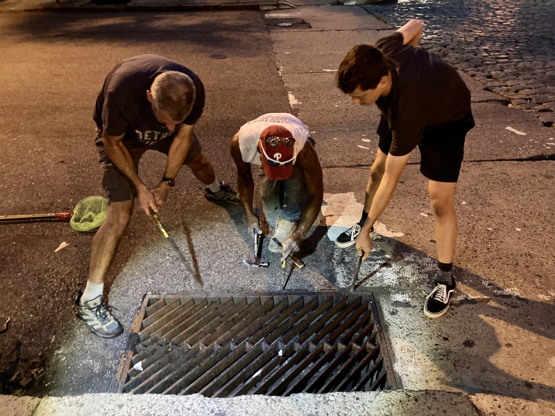 Retrieving iphone from storm sewer